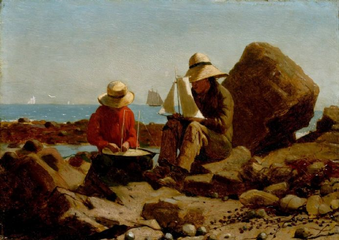 Homer, Winslow: The Boat Builders. Coastal Fine Art Print/Poster. Sizes: A4/A3/A2/A1 (003466)